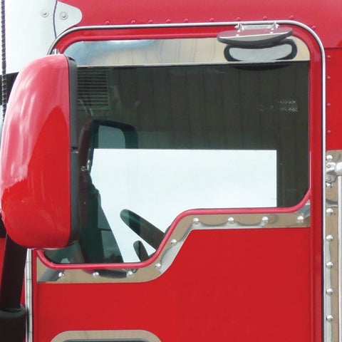 "Kenworth w/Daylite Door stainless steel ""Slim Style"" contoured under window trim - PAIR"