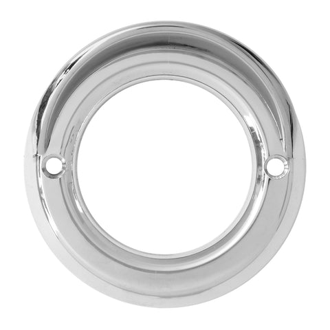 "2"" round chrome plastic grommet cover with visor - smooth edge"