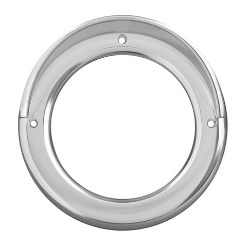 "4"" round chrome plastic light bezel with visor"
