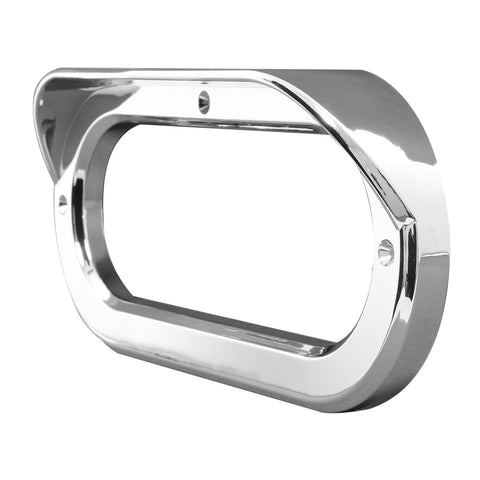 Oval chrome plastic light bezel with horizontal visor