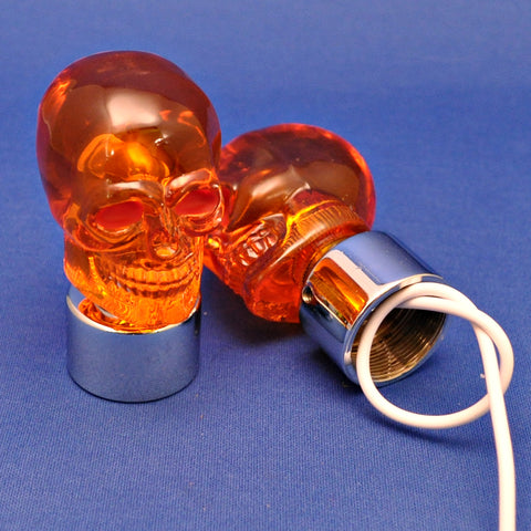 Amber incandescent lighted skull bumper guide top - PAIR