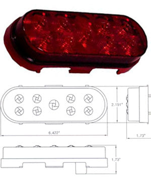 Maxxima red oval 9 8mm diode LED stop/turn/tail light