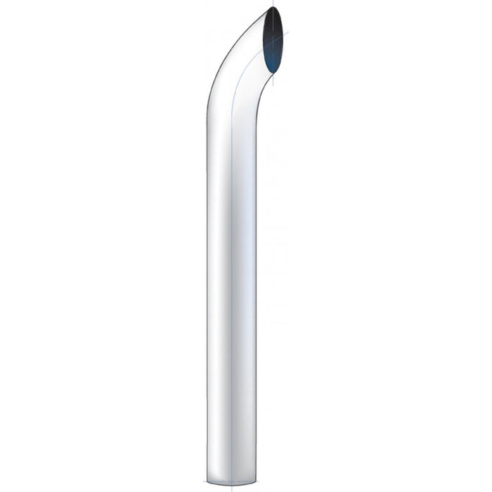 "36"" tall curve out chrome exhaust tip - 6"" diameter, reduces to 5"""
