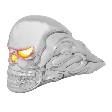 Flaming Skull chrome hood ornament w/amber incandescent lighted eyes
