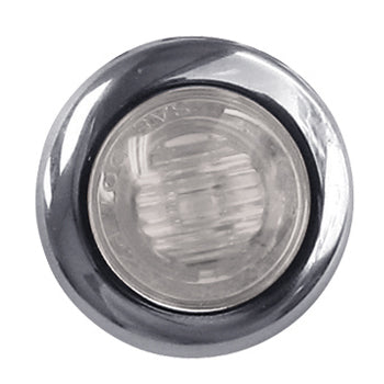 "Amber 1"" mini button LED turn signal light - CLEAR lens"