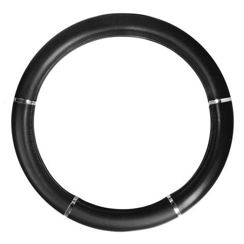 "18"" deluxe steering wheel cover - black w/chrome trim"