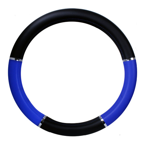 "18"" deluxe steering wheel cover - black and blue w/chrome trim"