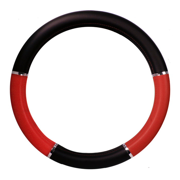 "18"" deluxe steering wheel cover - black and red w/chrome trim"
