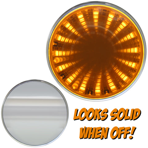 "3D Amber Piranha tunnel-style 2"" round LED light"