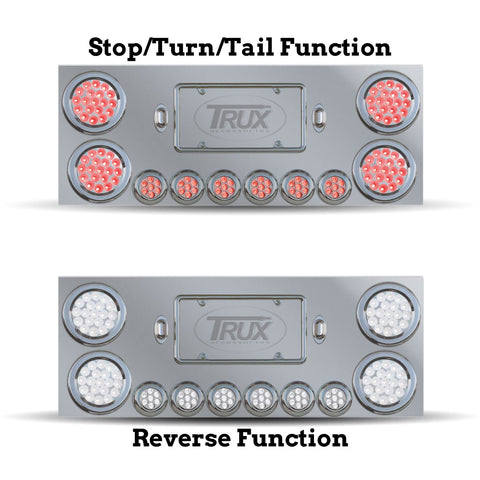 "Dual Revolution 12"" stainless steel rear center panel w/back, ALL Red/White LED lights"