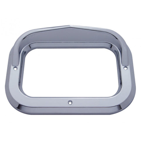 Rectangular chrome plastic light bezel with visor