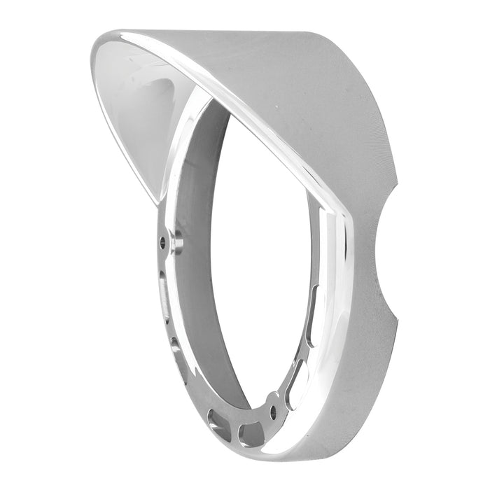 Chrome plastic rim with visor for LED pedestal light - Visor on the Left
