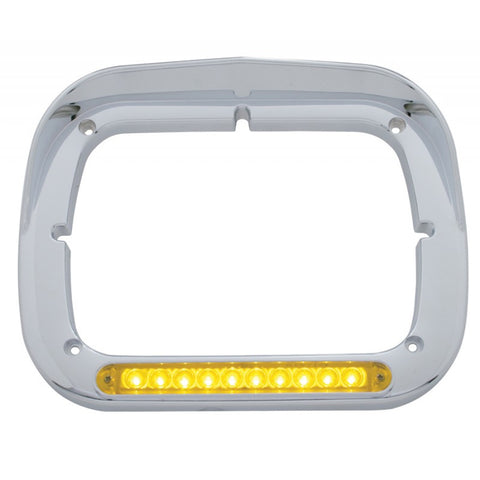 Chrome plastic square headlight bezel w/visor, amber LED turn signal