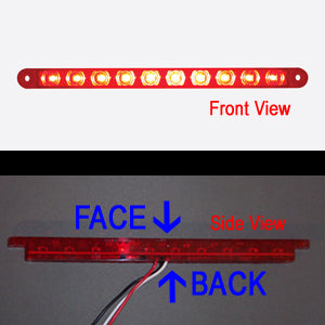 "Red thin 9"" long LED stop/turn/tail light bar"