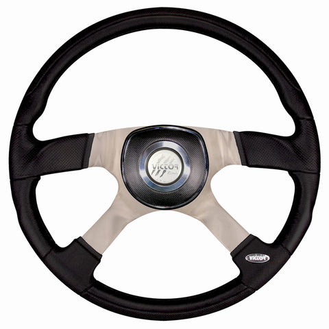 """Trucker 4"" black polyurethane 18"" steering wheel - 5 hole style"