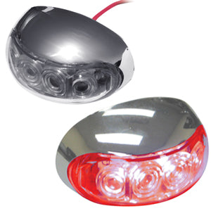 Half-moon 4 diode LED interior auxiliary light w/chrome housing - Red