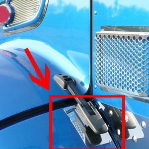 Peterbilt 386 stainless steel lower hood strap surrounds - PAIR