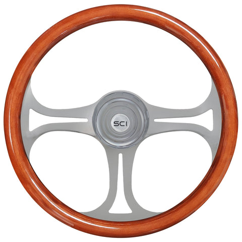 """Saber"" wood rim 18"" steering wheel - 3 hole style"