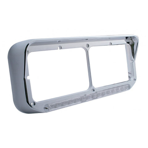Chrome plastic dual rectangular headlight bezel w/visor, amber LED turn signal - CLEAR lens