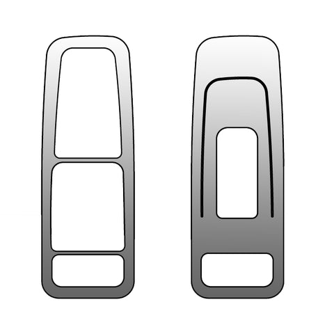 Peterbilt 567/579 stainless steel power window trims w/cutouts for heat/moto mirror buttons