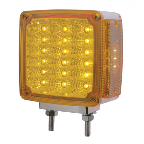 Amber/Red square 18 diode LED 2-stud turn signal light w/reflector - Driver's Side