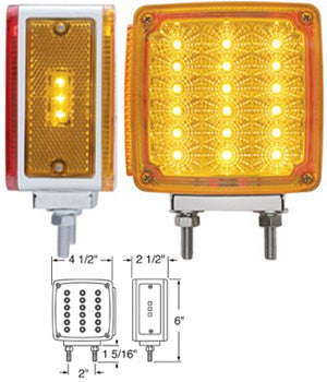 Amber/Red square 18 diode LED 2-stud turn signal light w/reflector - Passenger's Side
