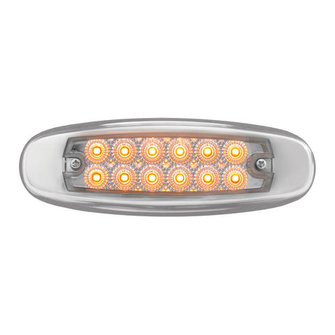 Spyder Amber Peterbilt-style 12 diode LED ultra-thin marker light - CLEAR lens