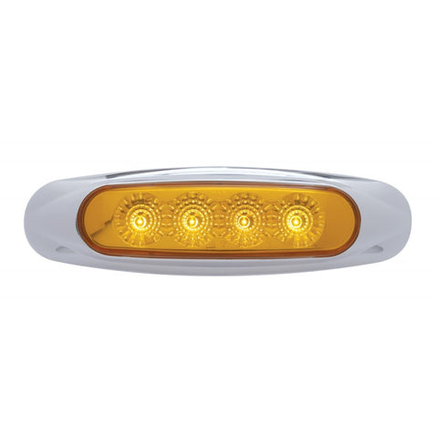 Amber 4 diode LED marker light w/chrome bezel