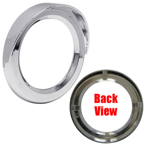 "4"" round ""Stealth"" chrome plastic screwless grommet cover with visor"
