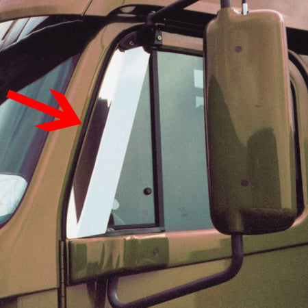 Freightliner Century/Columbia stainless steel door window air deflectors - PAIR