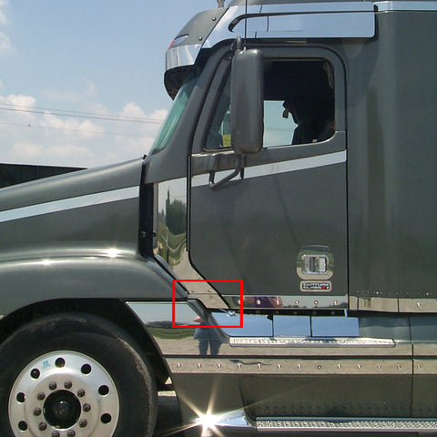 Freightliner Century stainless steel cab panel front extensions - PAIR