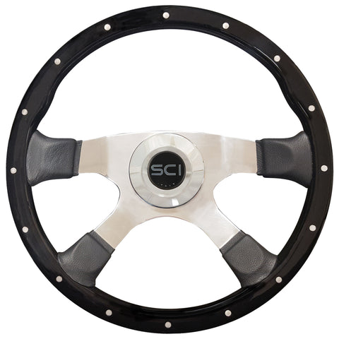 "Piano Black 18"" riveted wood steering wheel w/4 chrome spokes, leather spats - 5 hole hub"
