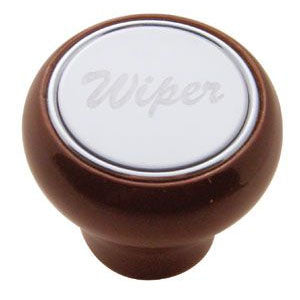 Small wood dash knob w/stainless steel plate