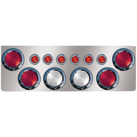 "12"" stainless steel rear center panel w/6 round 4"" holes and 6 round 2"" light holes"