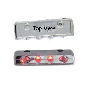 4 diode LED auxiliary strip light w/chrome plastic housing - Red