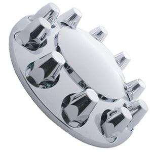 Chrome ABS plastic front axle cover w/ten 33mm thread-on lugnut covers