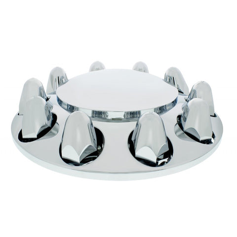 "Chrome ABS plastic front axle cover w/ten 1-1/2"" push on nut covers"
