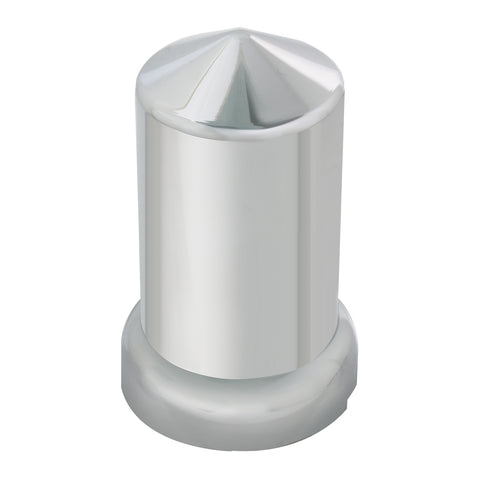 33mm chrome plastic pointed round push-on lugnut cover w/flange
