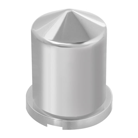 "1.5"" chrome plastic pointed round push-on lug nut cover w/flange"