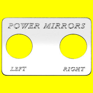 "Woody's Freightliner stainless steel ""Power Mirrors Left/Right"" switch plate, 2 holes"