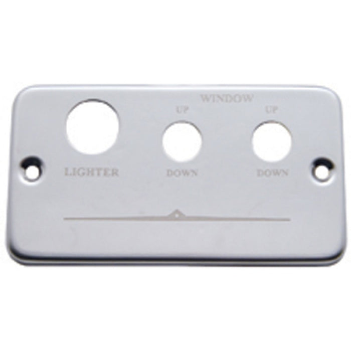 Freightliner stainless steel switch plate panel w/right, left window and lighter holes