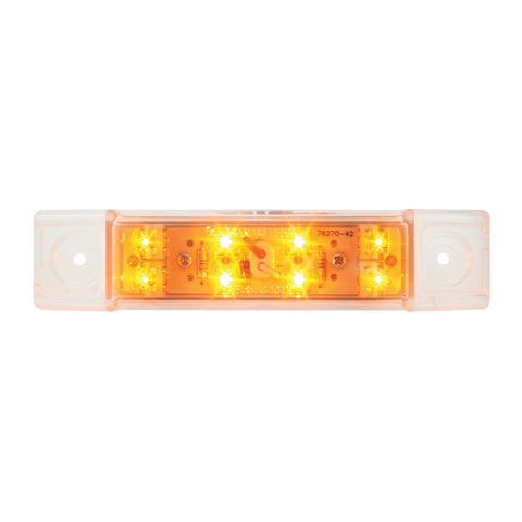 Amber 8 diode LED trailer top rail marker light - CLEAR lens