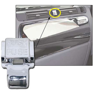 Freightliner Century/Columbia chrome plastic fuse box push button