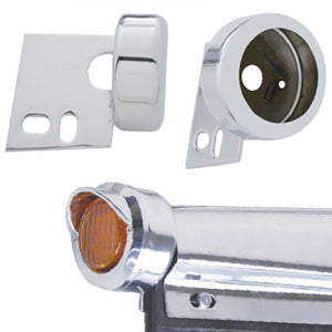 "Chrome bracket w/2"" round light hole for mudflap hanger ends"