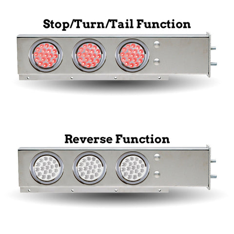 "Stainless steel mudflap hanger w/6 round Dual Revolution 4"" Red/White LED lights - 2.5"" Bolt hole spacing"