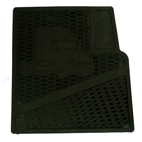 Freightliner Columbia plain black rubber floor mat set