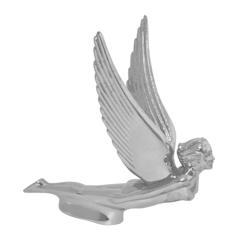 Flying Goddess with wings chrome die-cast hood ornament