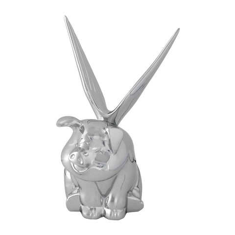 Sitting Flying Pig with wings chrome hood ornament