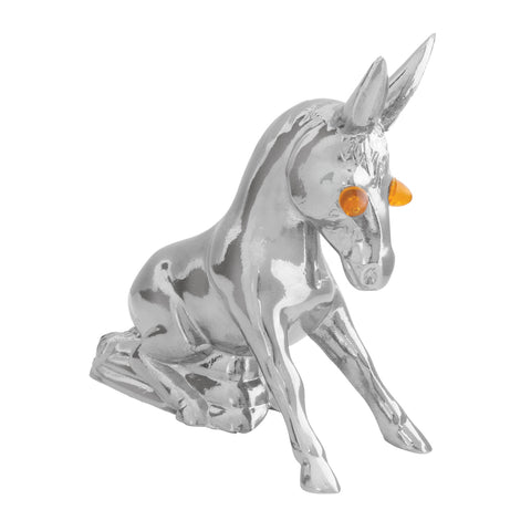 Sitting Donkey chrome hood ornament w/amber incandescent lighted eyes