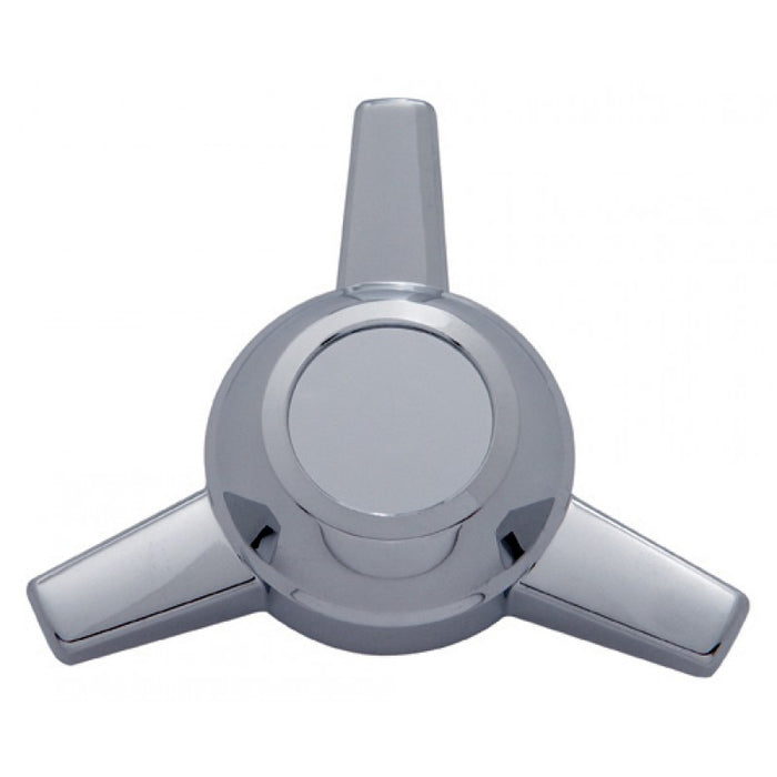 "Chrome plastic 5"" diameter 3-straight bar hub cap spinner"